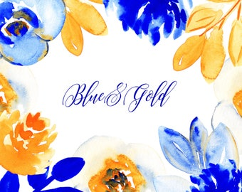Blue and Orange Flower Clip Art, Watercolor Flower Clipart : Watercolor Clip Art, Watercolor Clipart, Wedding Clipart, Yellow Flower Clipart