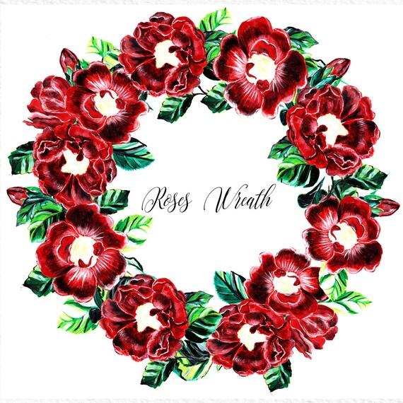 roses wreath flower wreath clipart floral wreath red rose clipart rh etsystudio com wreath clip art frames wreath clipart free