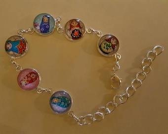 Bracelets glass cabochons