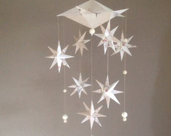 Galaxy. A Star nursery mobile. 'A starry starry night' . A handmade mobile crafted from diary notepaper.