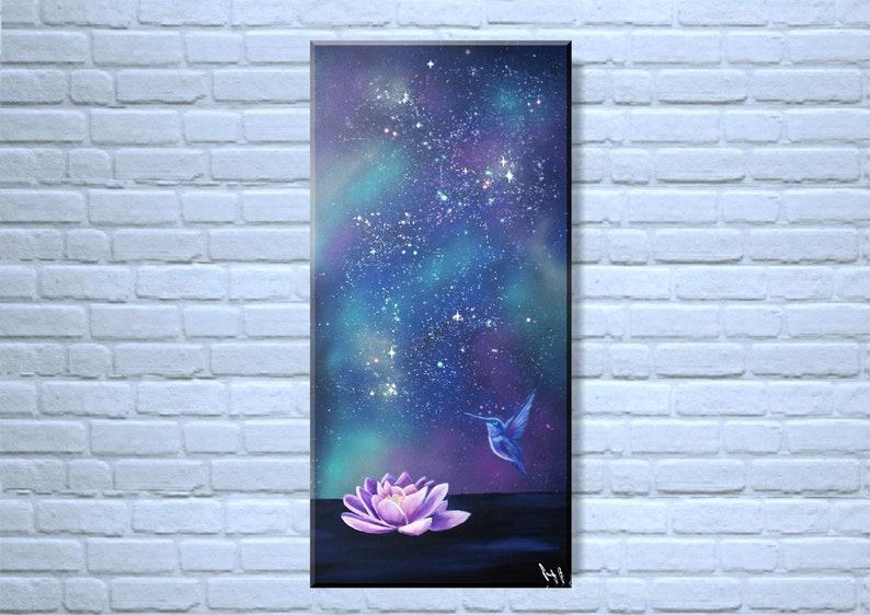 Original fantasy painting Lotus with hummingbird  Acryl on image 0