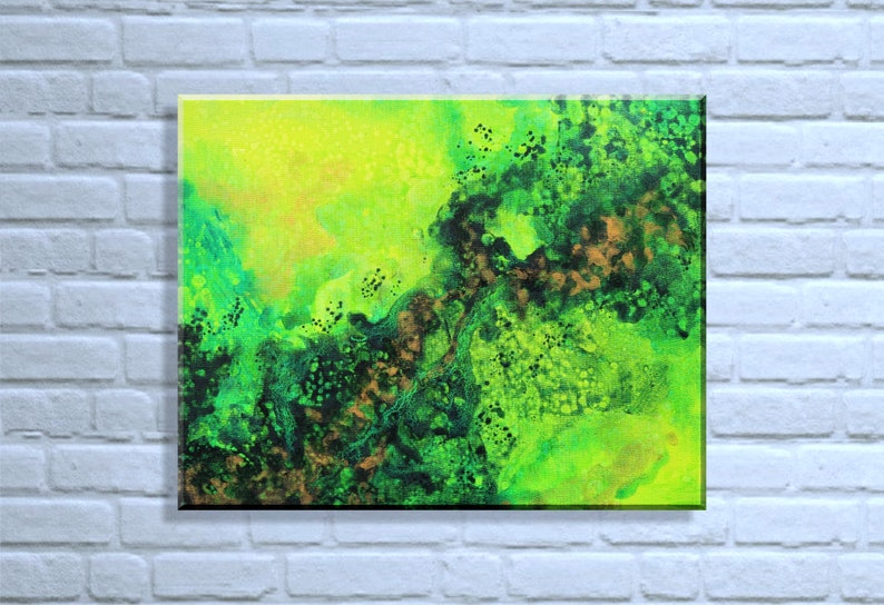 Original Abstract Painting Green Abstract Painting Abstract image 0