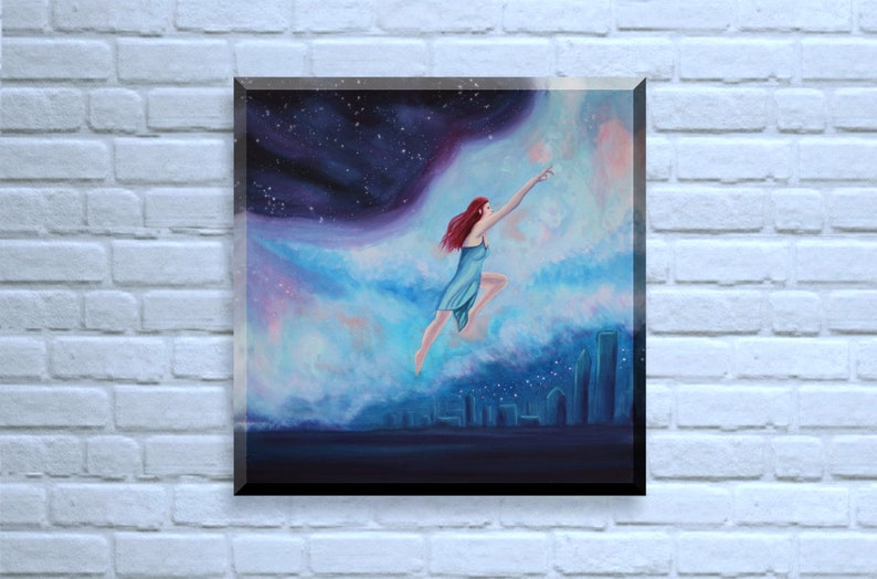 Original Fantasy Painting flying woman fantasy wall art image 0