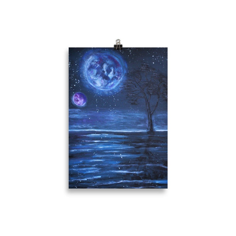 Two Planets Art Print  Fantasy World Fantasy Wall Art 30×40 cm