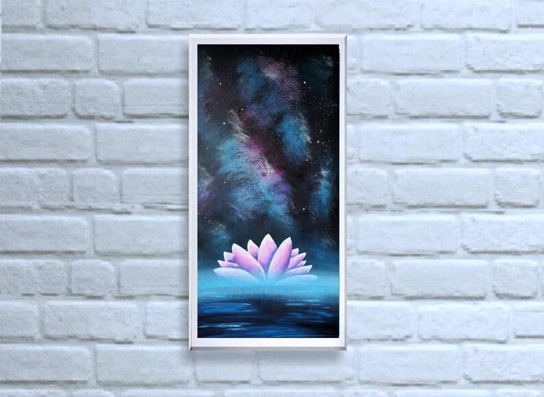 Original fantasy painting Lotus with galaxy  Acrylic on image 0