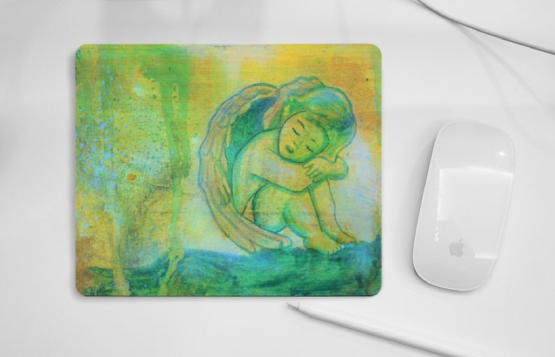 Angel mouse pad green yellow pad for PC mouse angel gift image 0