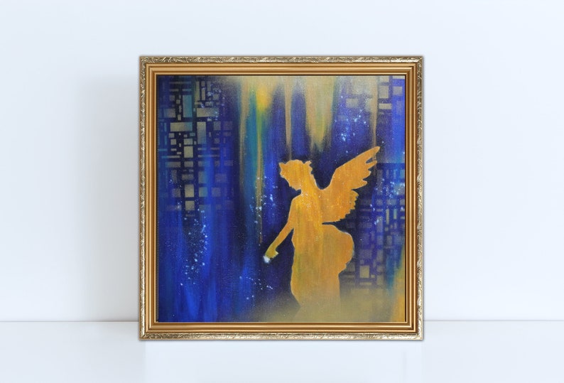 Original Golden Angel Painting Modern Angel Painting Angel gold