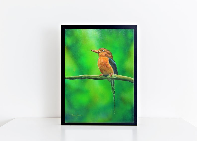 Original Painting Bird 30x40 cm realistic animal art Bird Schwarzer Rahmen