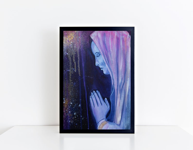 The Prayer Poster Praying Woman Print Religious Wall Art image 0