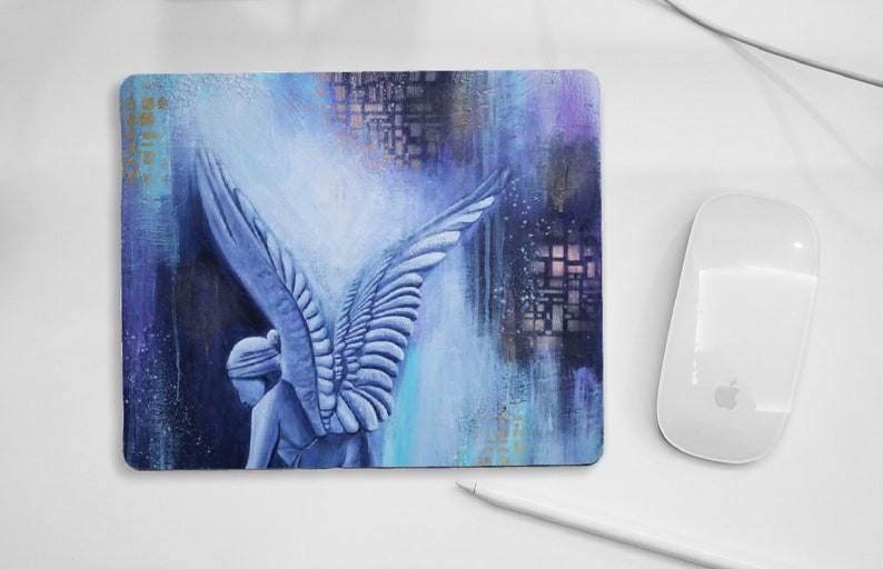 Abstract Angel mouse pad blue pad for PC mouse angel gift image 0