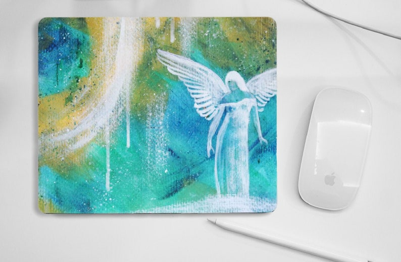 Angel mouse pad blue yellow pad for PC mouse angel gift image 0
