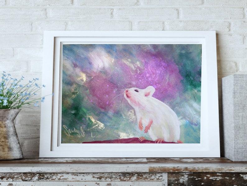Original painting white rat acryl on paper rat painting rat image 0