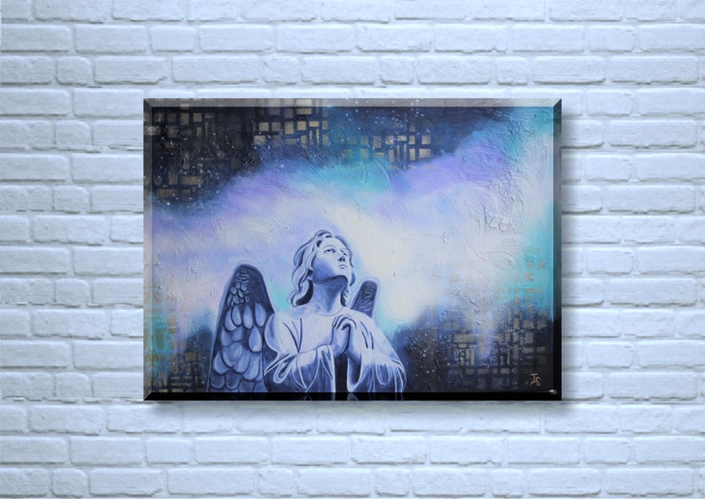 Original Angel Painting Abstract Angel Painting Praying image 0