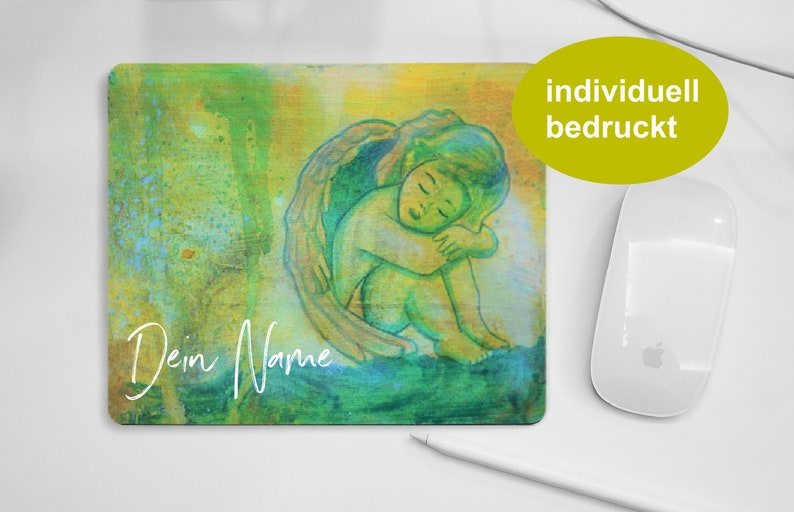 Customised Angel mouse pad green yellow personal pad for PC image 0