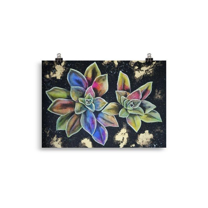 Colorful succulent print  succulent painting flower wall art 30×40 cm