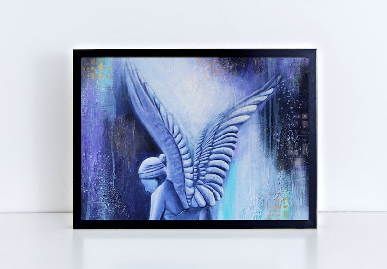 Blue Angel Print Abstract Angel Print Modern Angel Wall Art image 0