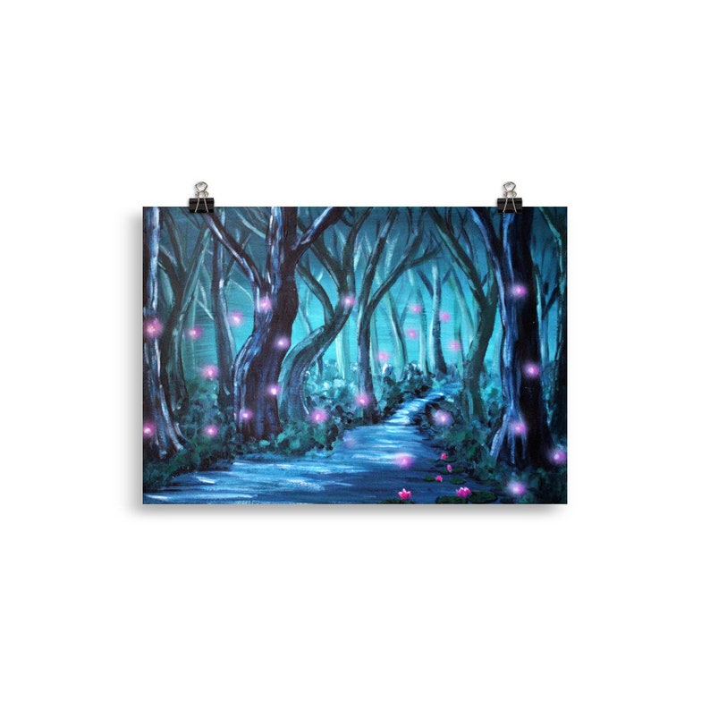 Mystery Forest Print  Fantasy Art Forest Wall Art Forest 30×40 cm
