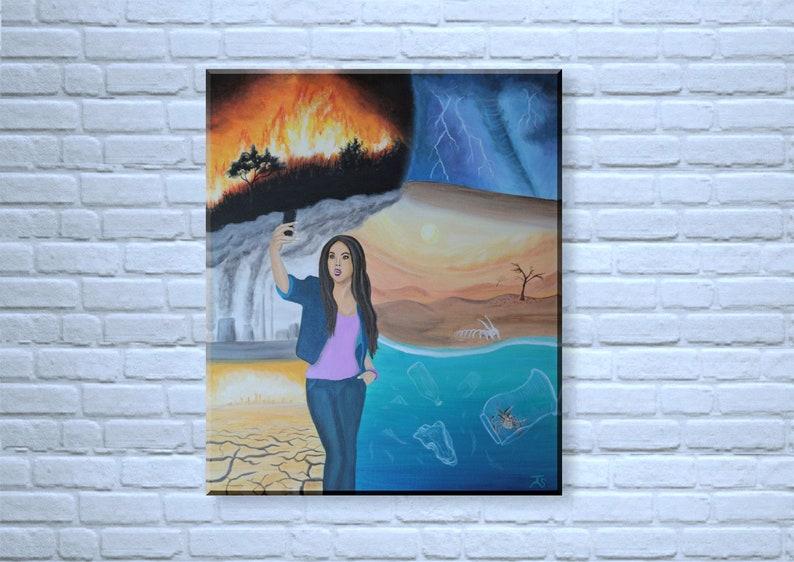 Selfie Zombie  Original Acrylic Painting on canvas 50x60 cm image 0