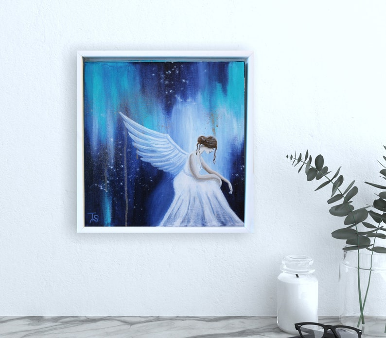 Original Sad Angel Painting on canvas framed Modern Angel image 0
