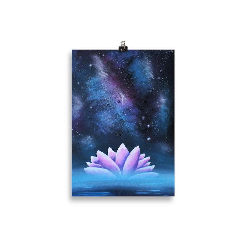 Lotus at night print  Lotus poster Lotus wall art 30×40 cm