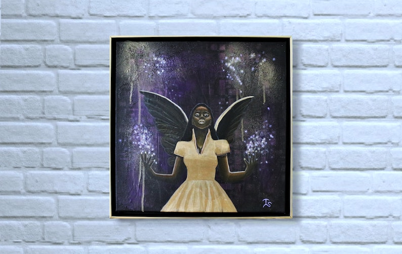 Original Angel Painting Angel of Magic Modern Angel Wall Art image 0