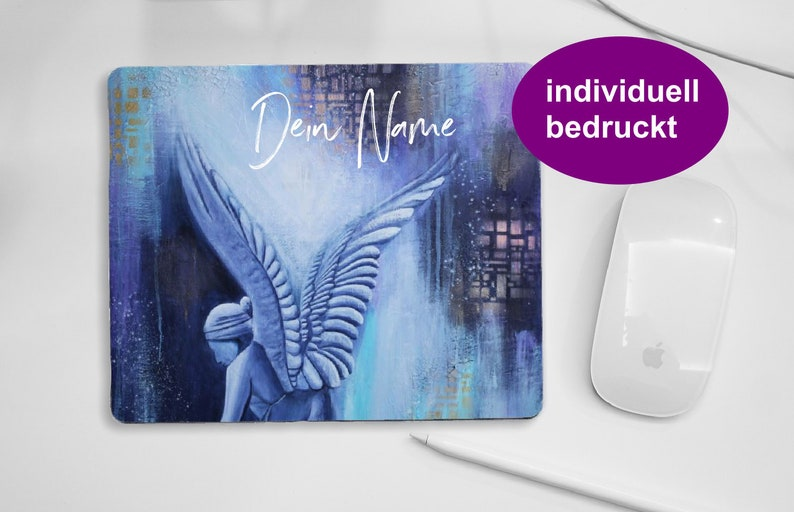 Customised Angel mouse pad blue personal pad for PC mouse image 0