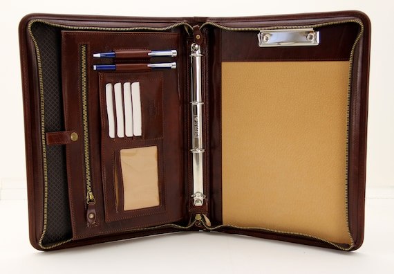 Leder Folio mit Griff braun mit Rei/ßverschluss A4/Ordner Padfolio 4/Ring Binder Italienisches Leder Portfolio