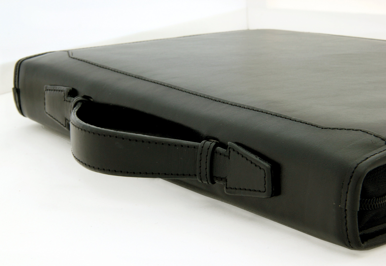 Personalized Leather Folder Zipper Portfolio A4 3 Ring