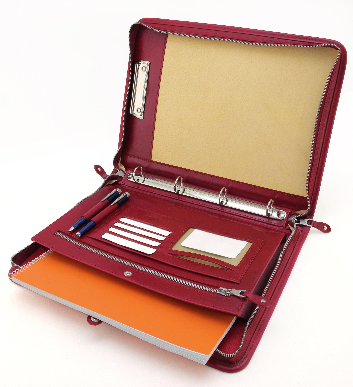 leather ring binder  leather organizer   document holder