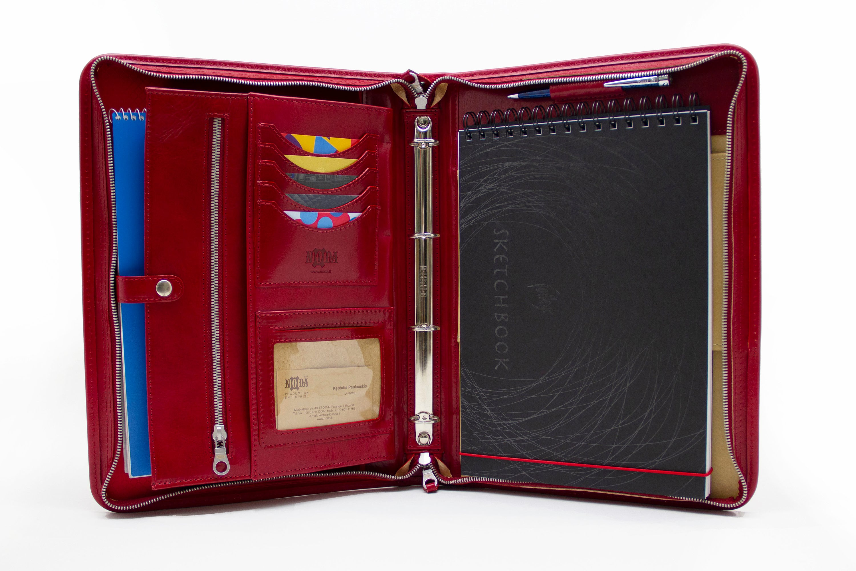 leather organizer  personalized leather portfolio