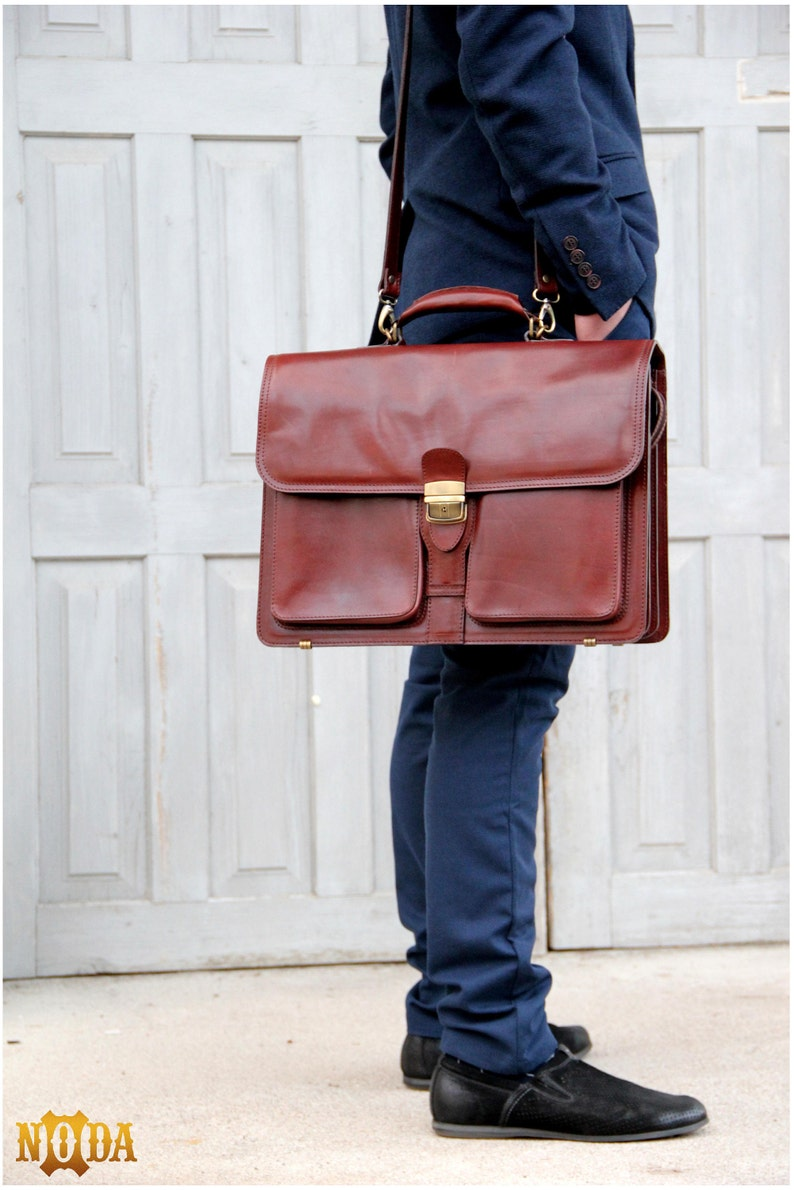 Leather laptop case Business Satchel Bag Italian  Leather Briefcase Messenger Bags Brown