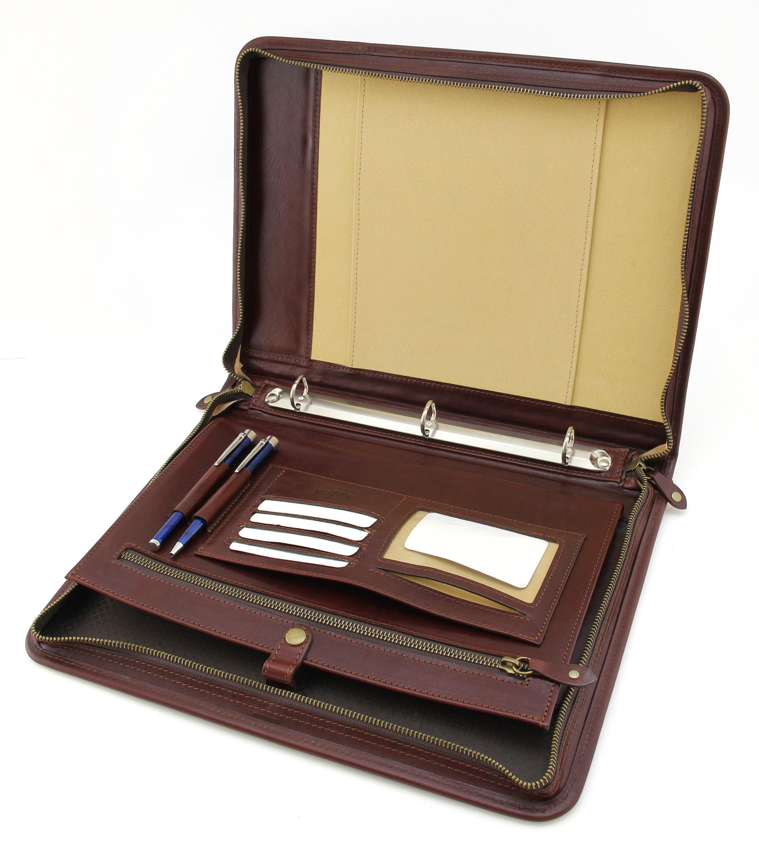 personalized portfolio  3 ring binder  brown padfolio a4   professional business organizer