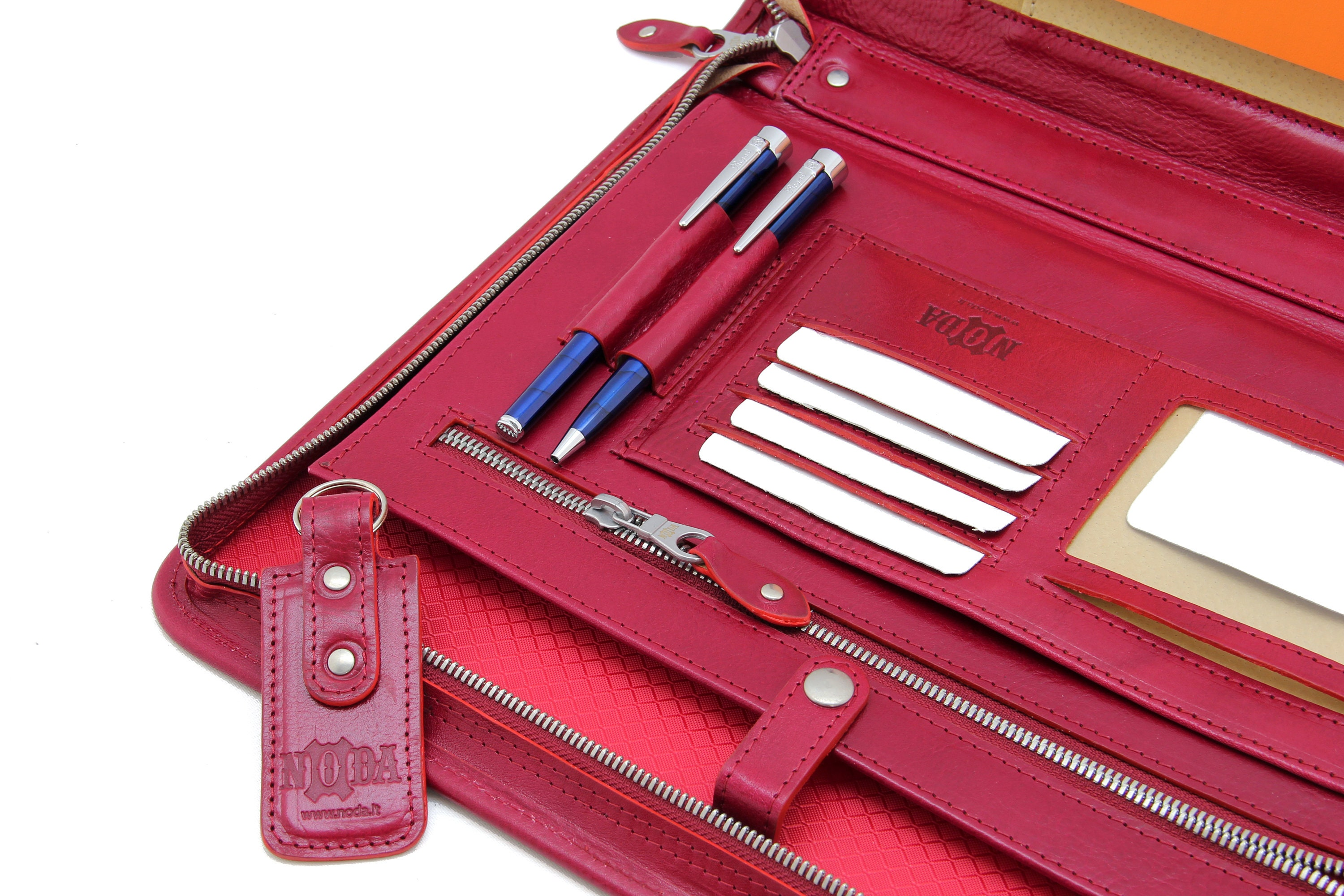 leather portfolio a4  personalised leather folio men  zip document holder  notebook case   red