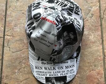 c633c1dfb12 Man On the Moon KiSS Baseball Cap - Newspaper Headlines - Neil Armstrong -  Handmade Unique - Gift Idea