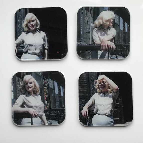 Marilyn Monroe Colour KiSS Coasters - New York - Hollywood Icon - Actress 50s - Present idea - Home Decor - Unique Stocking Filler