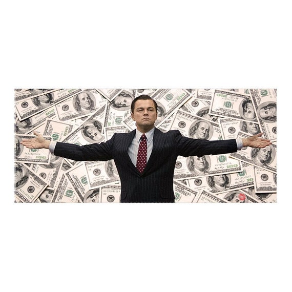 The Wolf of Wall Street KiSS Large Panoramic Canvas - funny unique wall art - Home Decor, Money cool design - movies - Leonardo DiCaprio