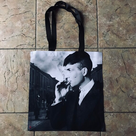 Tommy Shelby KiSS Tote Bag - Cillian Murphy, UK TV Show Inspired - Smoking - Shopper - Present/Gift Idea - Gangster - Peaky Blinders
