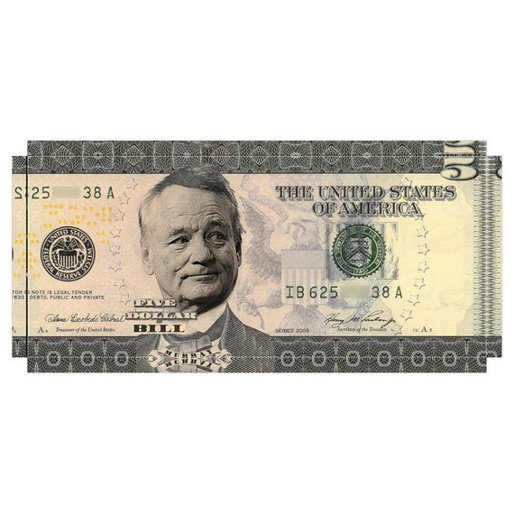 5 Dollar Bill Murray KiSS Large Panoramic Canvas - Iconic Money Abe Lincoln - Actor Groundhog Ghostbusters - Wall Art gift - Home Decor