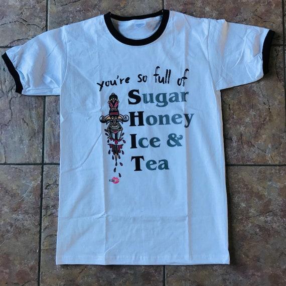Full of Sh*t KiSS Ringer T-Shirt - Sugar Honey Ice Tea - Old School Tattoo - Music BMTH Inspired Full of It