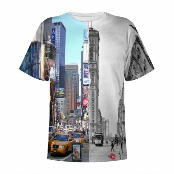 Times Square Then & Now KiSS All Over T-Shirt - New York City Manhattan History - Construction - NYC