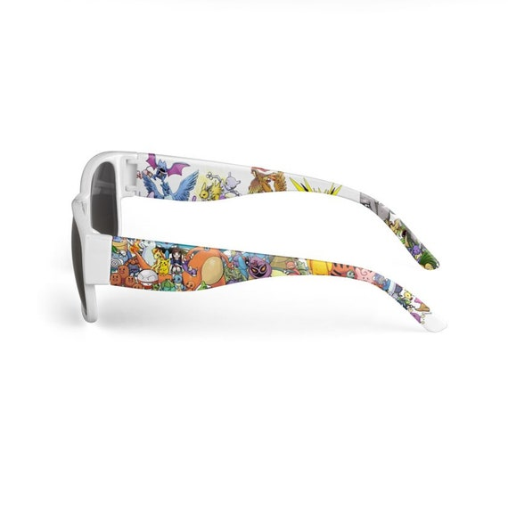 Pokemon KiSS Sunglasses - Characters Collage - Gamer Gift for him & her - Pikachu Ash Squirtle Charizard - Summer