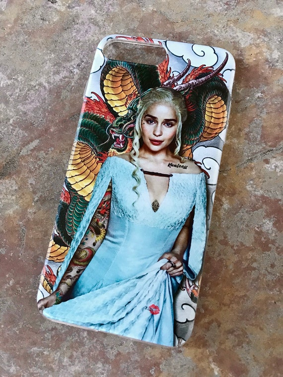 Tattooed Daenerys Targaryen KiSS iPhone Case - Game of Thrones Inspired tv show  - Emilia Clarke - Dragon Mother - Gifts for him & her