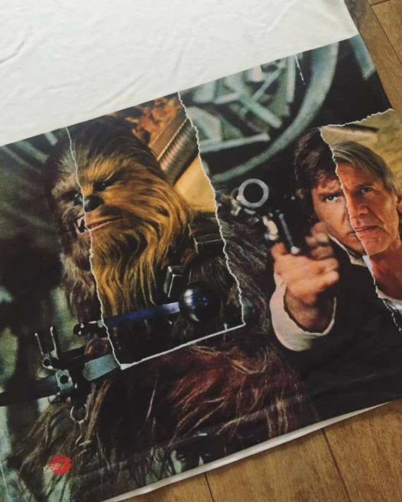 Chewy Han KiSS Large Print T-Shirt - Han Solo Chewbacca - Chewie - Star Wars inspired- Then & now - Harrison Ford - Gift Idea, bromance