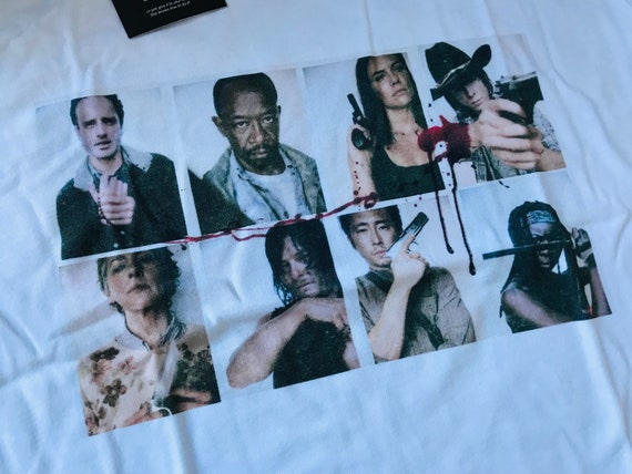 The Walking Dead Inspired Polaroid TWD KiSS T-Shirt - Rick Grimes Andrew Lincoln - Carl Glenn - Walkers zombies apocalypse - present gift
