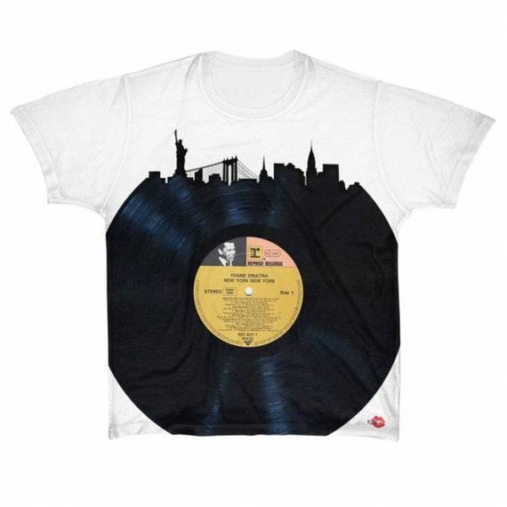 New York Frank Sinatra Vinyl KiSS Large Print T-Shirt - NYC Skyline - Rat Pack - Record 50s 60s 70s - Music fan
