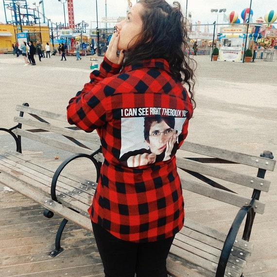 Louis Theroux KiSS Checked Flannel Shirt - See Through/Theroux You - funny retro - Unique item gift - Layer up Streetstyle