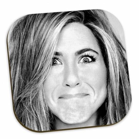 Jennifer Aniston KiSS Coasters - Friends Rachel Green - Home Decor - Funny Face
