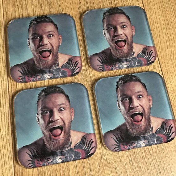 Conor McGregor KiSS Coasters - The Notorious - MMA Fight - Ireland  - Home Decor - Las Vegas - Christmas Present Idea Sports Fan - Kitchen
