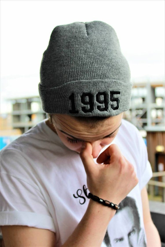 Custom Year KiSS Roll Up Beanie - Personalised Bieber Hat - 1994 Choose Your Year And Colour - Embroidery