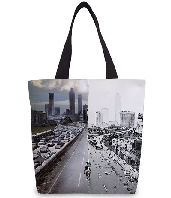 Comics Walking Dead Vs TV TWD Inspired KiSS Tote Bag - Rick Grimes - Atlanta, half & half - Walkers Zombie Fan - Gift Idea - Shopper